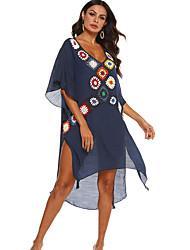 cheap -Women's A-Line Dress Knee Length Dress - Half Sleeve Print Summer Casual Mumu 2020 White Black Dusty Blue One-Size