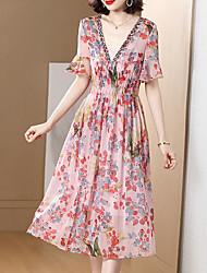 cheap -Women's Chiffon Dress Midi Dress - Short Sleeves Floral Summer Work 2020 Rainbow XL XXL XXXL XXXXL XXXXXL