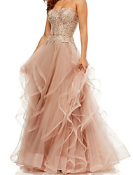 cheap -A-Line Elegant Vintage Engagement Formal Evening Dress Strapless Sleeveless Floor Length Tulle with Tier Embroidery 2020