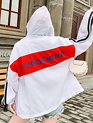 cheap -Women's Jacket Daily Regular Color Block White / Black / Red S / M / L