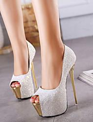 cheap -Women's Heels / Sandals Summer Stiletto Heel Peep Toe Daily PU White / Black / Pink