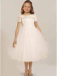 cheap -A-Line Knee Length Wedding / Party Flower Girl Dresses - Lace / Tulle Sleeveless Jewel Neck with Solid