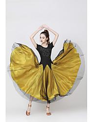 cheap -Ballroom Dance Dress Glitter Paillette Women's Training Performance Short Sleeve Natural Satin Milk Fiber