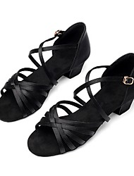 cheap -Women's Modern Shoes PU Buckle Heel Thick Heel Dance Shoes Black / Brown