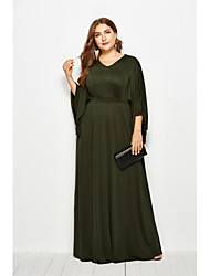 cheap -Women's Swing Dress Maxi long Dress - Long Sleeve Solid Color Summer Fall Casual Boho Going out 2020 Black Army Green Royal Blue Navy Blue XL XXL XXXL XXXXL