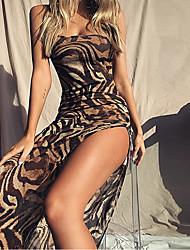 cheap -Women's Sheath Dress Maxi long Dress - Sleeveless Geometric Split Summer Sexy Vacation 2020 Brown S M L