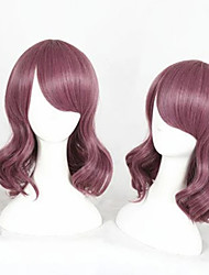 cheap -Cosplay Wig Lolita Curly Cosplay Halloween Asymmetrical With Bangs Wig Medium Length Purple Synthetic Hair 14 inch Women's Anime Cosplay Adorable Purple
