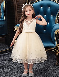 cheap -Princess / Ball Gown Knee Length Wedding / Party Flower Girl Dresses - Tulle Sleeveless Jewel Neck with Sash / Ribbon / Bow(s) / Beading