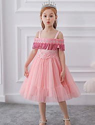 cheap -Princess / Ball Gown Knee Length Wedding / Party Flower Girl Dresses - Tulle Short Sleeve Off Shoulder with Bow(s) / Pleats / Beading