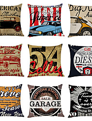 cheap -9 pcs Linen Pillow Cover, Nostalgic North American Style Casual Modern Square Traditional Classic
