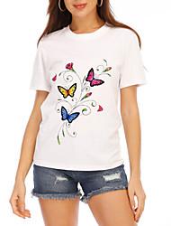 cheap -Women's T shirt Graphic Print Round Neck Tops 100% Cotton Cotton Basic Basic Top White