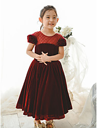 cheap -Ball Gown Tea Length Wedding / Birthday / Pageant Flower Girl Dresses - Velvet Short Sleeve Jewel Neck with Pearls