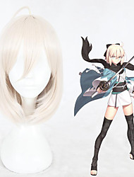 cheap -Cosplay Costume Wig Cosplay Wig Grand Order Okita Souji Fate / Stay Night Straight Cosplay With Bangs With Ponytail Wig Short White Synthetic Hair 14 inch Women's Anime Cosplay Exquisite White