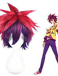 cheap -Cosplay Wig Sora No Game No Life Straight Cosplay Asymmetrical With Bangs Wig Short Pink / Purple Synthetic Hair 12 inch Women's Anime Cosplay Ombre Hair Pink