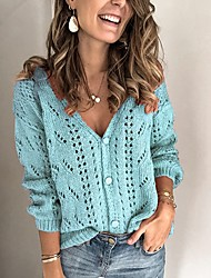 cheap -Women's Solid Colored Cardigan Long Sleeve Sweater Cardigans V Neck Black Blue Red