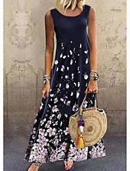 cheap -Women's A-Line Dress Maxi long Dress - Sleeveless Floral Print Summer Casual Daily 2020 Navy Blue M L XL XXL XXXL