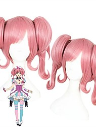 cheap -Cosplay Wig Atsushi Nakajima Macross Delta Curly Cosplay Halloween With 2 Ponytails With Bangs Wig Medium Length Pink Synthetic Hair 14 inch Women's Anime Cosplay Lovely Pink