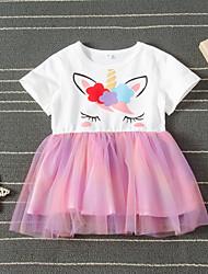 cheap -Kids Girls' Active Cute Unicorn Animal Mesh Short Sleeve Knee-length Dress Rainbow