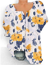 cheap -Women's Tops Floral Blouse V Neck Daily Summer Yellow Blushing Pink S M L XL 2XL 3XL 4XL 5XL