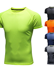 cheap -Men's Short Sleeve Running Shirt Tee Tshirt Summer Ice Silk Moisture Wicking Quick Dry Breathable Fitness Gym Workout Running Walking Jogging Sportswear Solid Colored Orange red ArmyGreen Black Light