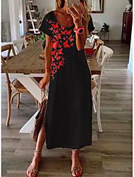 cheap -Women's Shift Dress Midi Dress - Short Sleeves Geometric Print Summer Casual Daily 2020 Black M L XL XXL XXXL