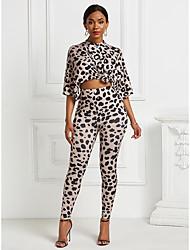 cheap -Women's Basic Leopard Cheetah Print Two Piece Set Blouse Tracksuit Pant Print Tops