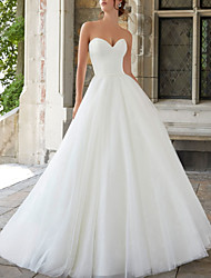 cheap -A-Line Wedding Dresses Strapless Sweep / Brush Train Tulle Sleeveless Simple with Sashes / Ribbons 2020