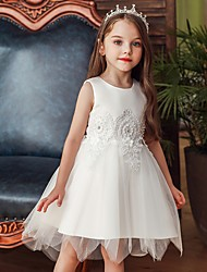 cheap -Princess / Ball Gown Knee Length Wedding / Party Flower Girl Dresses - Lace / Satin / Tulle Sleeveless Jewel Neck with Appliques