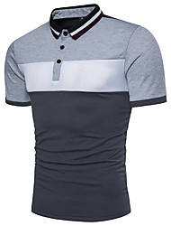 cheap -Men's Color Block Black & White Basic Polo - Cotton Active Daily Shirt Collar Red / Yellow / Light gray / Summer / Short Sleeve