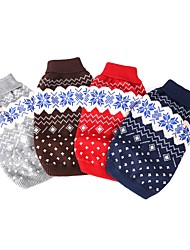 cheap -Dog Sweater Puppy Clothes Yarn Dyed Plaid / Check Spots & Checks Casual / Daily Winter Dog Clothes Puppy Clothes Dog Outfits Gray / White Navy Blue / Red Costume for Girl and Boy Dog Terylene XS S M L