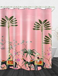 cheap -Painting Elephant Coconut Tree Digital Print Waterproof Fabric Shower Curtain for Bathroom Home Decor Covered Bathtub Curtains Liner Includes with Hooks