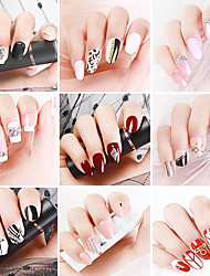 cheap -24pcs Plastics Glossy Water Resistant Ergonomic Design Romantic Sweet Party / Evening Daily Festival Artificial Nail Tips for Finger Nail