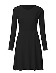 cheap -Women's A-Line Dress Knee Length Dress - Long Sleeve Solid Color Summer Elegant Daily 2020 Black Red S M L XL