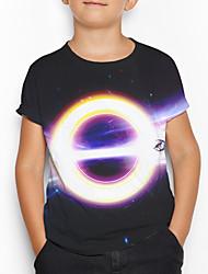 tanie -Dzieci Dla chłopców Podstawowy 3D Nadruk Krótki rękaw T-shirt Czarny