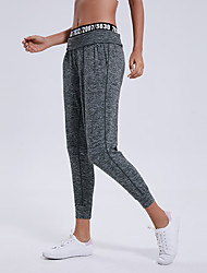 cheap -Women's High Waist Yoga Pants Side Pockets Harem Cropped Pants 4 Way Stretch Breathable Quick Dry Gray Nylon Non See-through Yoga Running Fitness Sports Activewear High Elasticity / Moisture Wicking