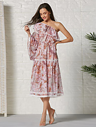 cheap -Women's Sheath Dress Knee Length Dress - Long Sleeve Geometric Summer Casual 2020 Blushing Pink S M L XL XXL