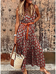 cheap -Women's A Line Dress Maxi long Dress Red Orange Gray Sleeveless Floral Summer V Neck Hot Casual 2021 S M L XL XXL