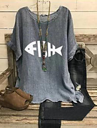cheap -Women's Blouse Shirt Geometric Round Neck Tops Cotton Basic Top Light gray Gray