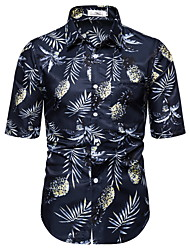 voordelige -Heren Fruit Print Overhemd Hawaii Dagelijks Wit / blauw / Geel