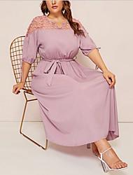 cheap -Women's A-Line Dress Midi Dress - Half Sleeve Solid Color Summer Casual Chinoiserie 2020 Blushing Pink Green L XL XXL XXXL XXXXL