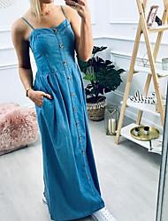 cheap -Women's Denim Overall Pinafore Dress Maxi long Dress - Sleeveless Solid Color Summer Off Shoulder Work Denim 2020 Light Blue M L XL XXL