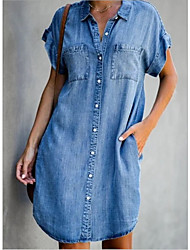 cheap -Women's Denim Shirt Dress Short Mini Dress - Short Sleeves Pocket Summer Shirt Collar Casual 2020 Light Blue S M L XL XXL