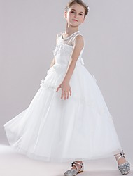 cheap -Ball Gown Round Floor Length Tulle Junior Bridesmaid Dress with Bow(s) / Appliques
