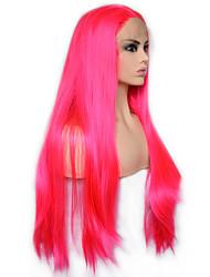 Недорогие -моде королева ярко-розовый длинный прямой синтетический парик фронта шнурка термостойкое волокно ежедневно носить для женщин