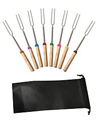 cheap -Marshmallow Roasting Sticks With Wooden Handle Set Of 8 Pcs Smores Skewers Telescoping Forks 32 Inch With Portable Bag