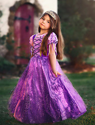 cheap -Princess Rapunzel Cosplay Costume Flower Girl Dress Kid's Girls' A-Line Slip Dresses Mesh Christmas Halloween Carnival Festival / Holiday Tulle Cotton Purple / Purple (With Accessories) Carnival