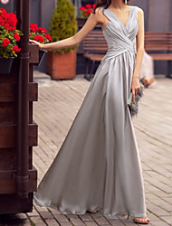 cheap -A-Line Beautiful Back Elegant Party Wear Prom Dress V Neck Sleeveless Floor Length Charmeuse with Criss Cross 2021