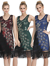 cheap -The Great Gatsby 1920s Vintage Vacation Dress Flapper Dress Prom Dress Women's Sequins Tassel Fringe Costume Red / Blue / Green Vintage Cosplay Party Homecoming Prom Sleeveless