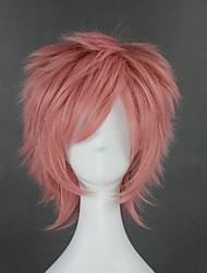 cheap -Cosplay Wig Natsu Dragneel Fairy Tail Straight Cosplay Asymmetrical With Bangs Wig Short Pink Synthetic Hair 12 inch Women's Anime Cosplay Classic Pink