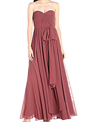 cheap -A-Line Strapless Ankle Length Chiffon Bridesmaid Dress with Bow(s) / Tier